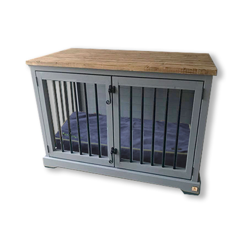 handmade-wooden-dog-crate-memory-foam-dog-bed