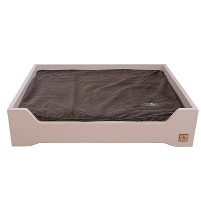 painted wooden dog bed with inner