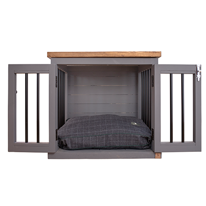 wooden dog crate with dog bed